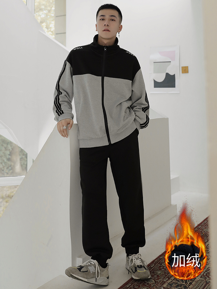 2019 Winter Men Set Tracksuit Jacket Sweatsuits Fashion Sportswear Men Outfit Joggers Suit Sets Sportwear Hommes Coat JJ60NT