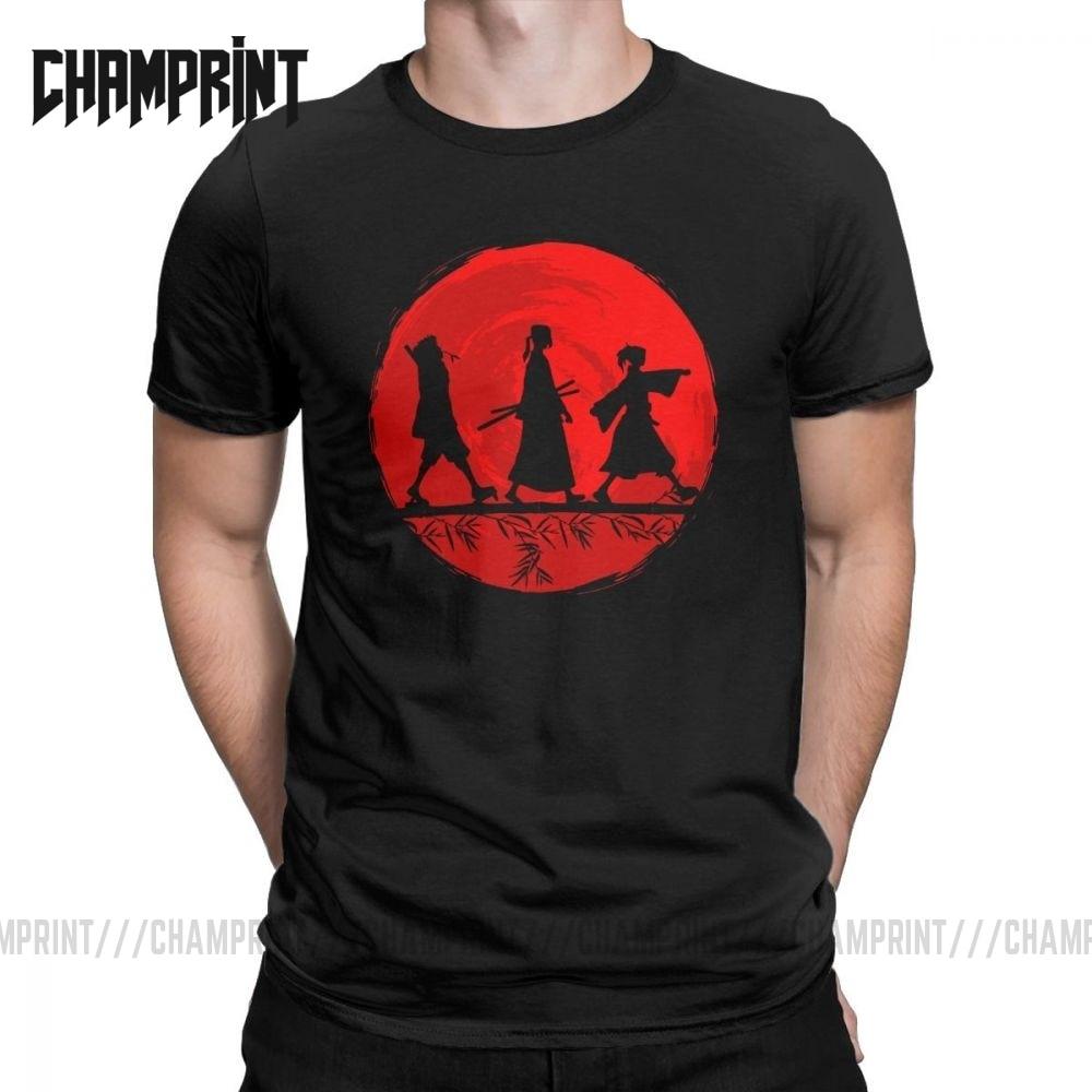 Creative Samurai Champloo Manga Anime T-Shirts For Men Round Collar 100% Cotton T Shirts Short Sleeve Tee Shirt Plus Size Tops