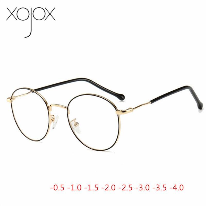 XojoX Prescription Eyeglasses Women Men Round Finished Myopia Glasses Unisex Short-sight Eyewear  -1.0 -1.5 -2.0 -2.5 -3.0 -4.0