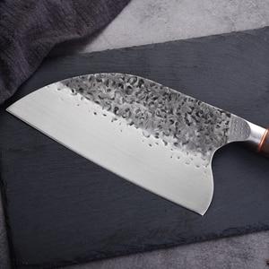 Image 2 - Нож мясника из нержавеющей стали 5CR15MOV, китайский кухонный нож, поварские инструменты с деревянной ручкой