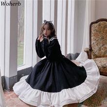 Woherb Sweet Lolita Dress Women Vintage Lace Bowknot High Waist Dresses Kawaii Japanese Girls Gothic Lolita Cosplay Loli 25928