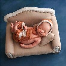Accesorios de sofá marrón para bebé, sofá Vintage para recién nacido, cama cómoda para recién nacidos, accesorios para sesión de fotos