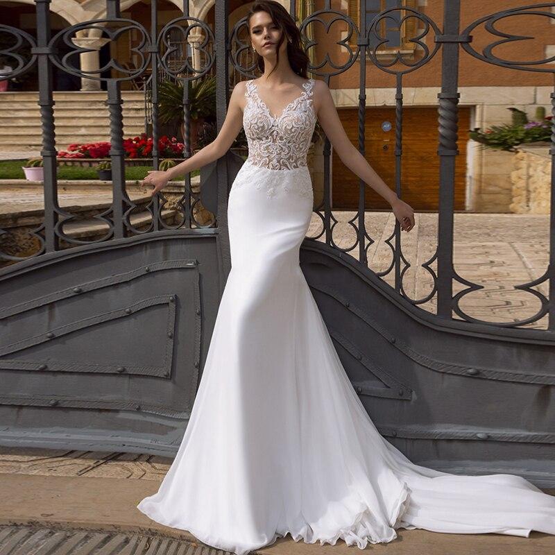 Eightree Mermaid Beach Boho Wedding Dresses Lace Appliques Bridal Dress V Neck Backless Chiffon Wedding Gowns Vestido De Noive