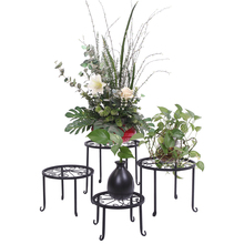 4 Plant Shelves With 4-1 Round Pattern In Black Baking Paint Metal Plant Flower Display Rack For