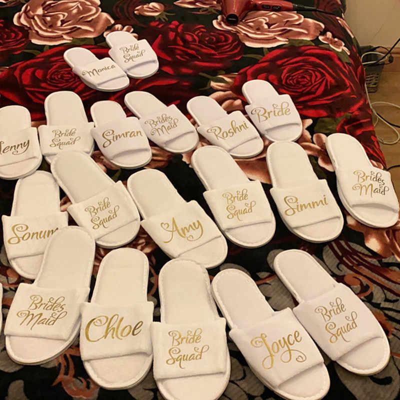 ส่วนบุคคล Glitter งานแต่งงานรองเท้าแตะ,งานแต่งงานแหวนเงินชื่อรองเท้าแตะดอกไม้รองเท้าแตะ,.Bachelorette PARTY favors ของขวัญ