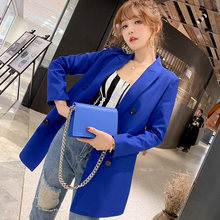 Vintage Formal Woman Blazer NEW Pockets ladies Office Jackets Women 2019 Female long Suits Coat Plus size business blazers S0076(China)