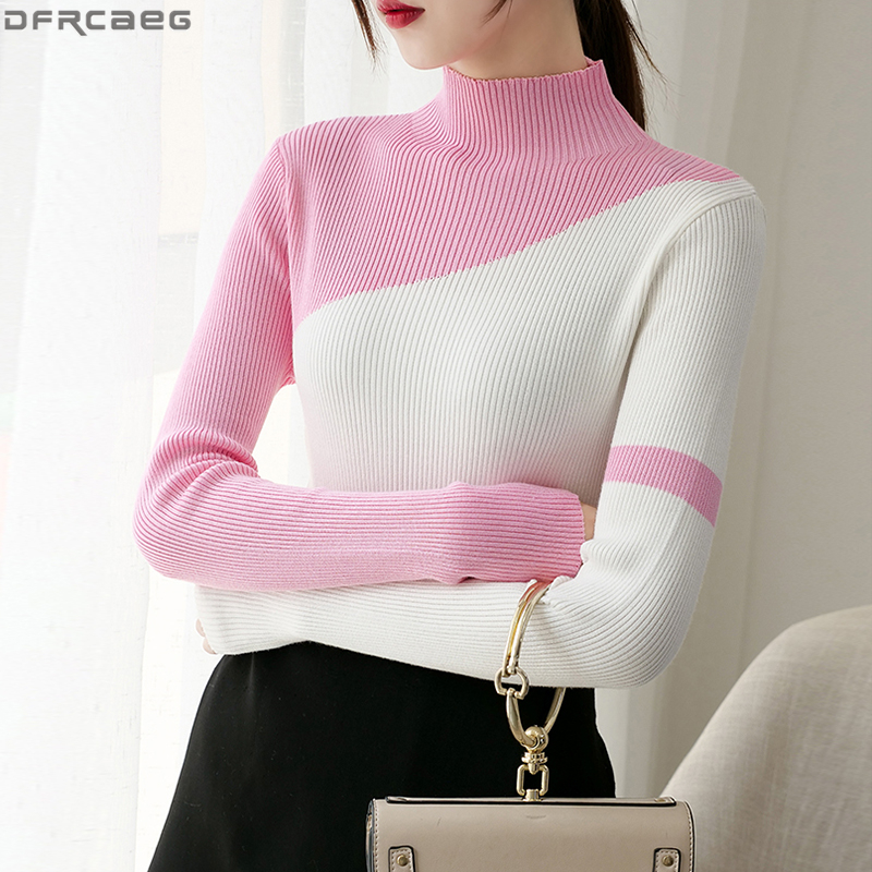 2019 Fashion Knitwear Pullover Women Autumn Winter Turtleneck Top Long Sleeve Knitted Sweaters Spliced Contrast Color Pull Femme Red Yellow White Black Pink Stretch Basic Shirts