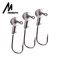 MEREDITH 10pcs/Lot Lead Jig Head 1.5g 2g 3.5g 5g 7g 10g 14g Hook Bait Fishing Hooks For Soft Lures Tackle