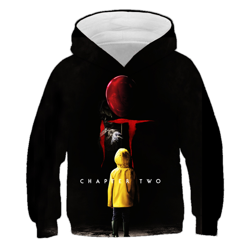 Horror Movie IT Chapter Two 3D Print Hooded Sweatshirts child Fashion Casual Funny Pullover IT Clown Print Pattern Boy Hoodies
