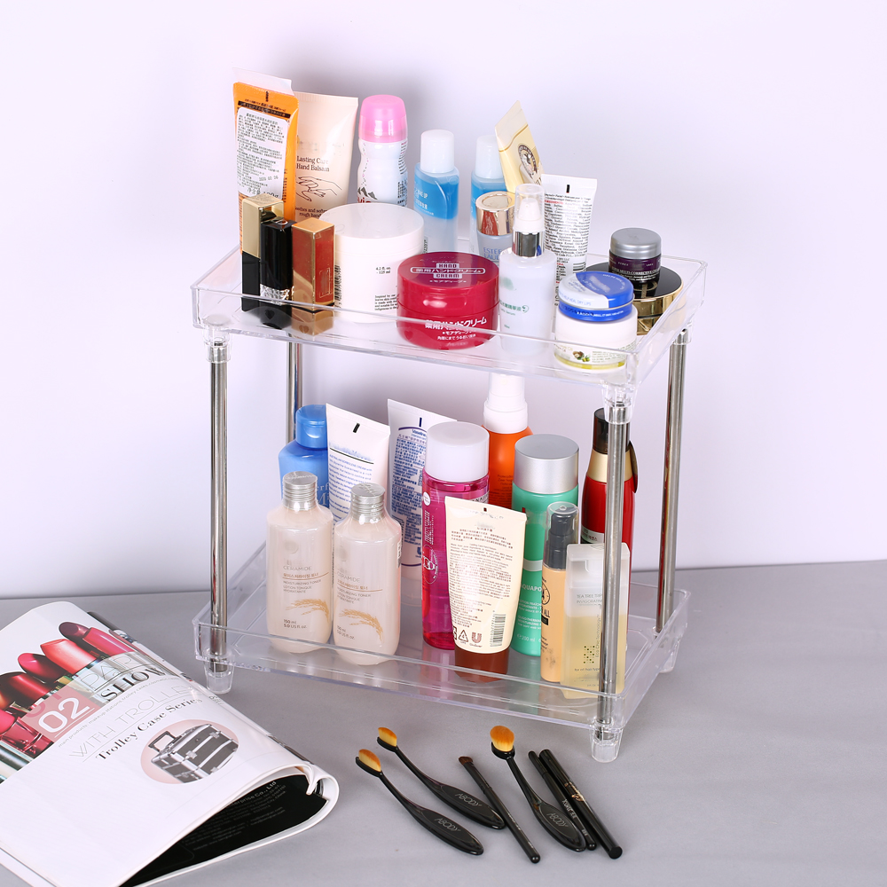 Multi-functional 2-Tier Makeup Organizer Cosmetic Organizer Tray Storage Shelf Caddy Stand for Bathroom Vanity Countertop