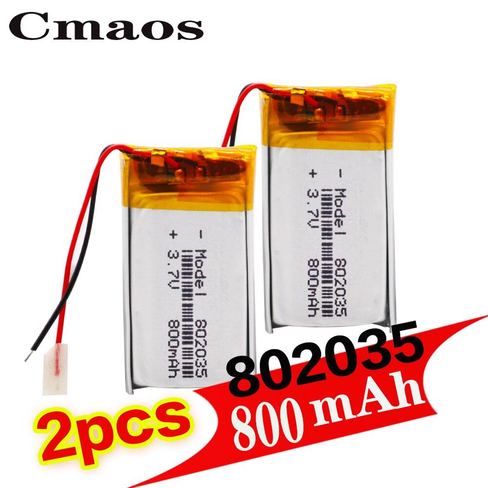 Литий-полимерный аккумулятор 802035, 3,7 в, 800 мАч, 3, 7 в, 2 шт.