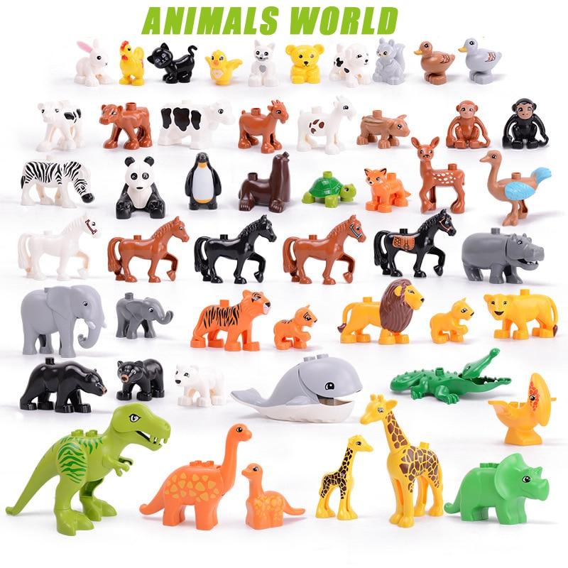Игрушки серии животных, большие фигурки, строительные блоки, образовательные Подарки с животными, совместимые игрушки большого размера для...