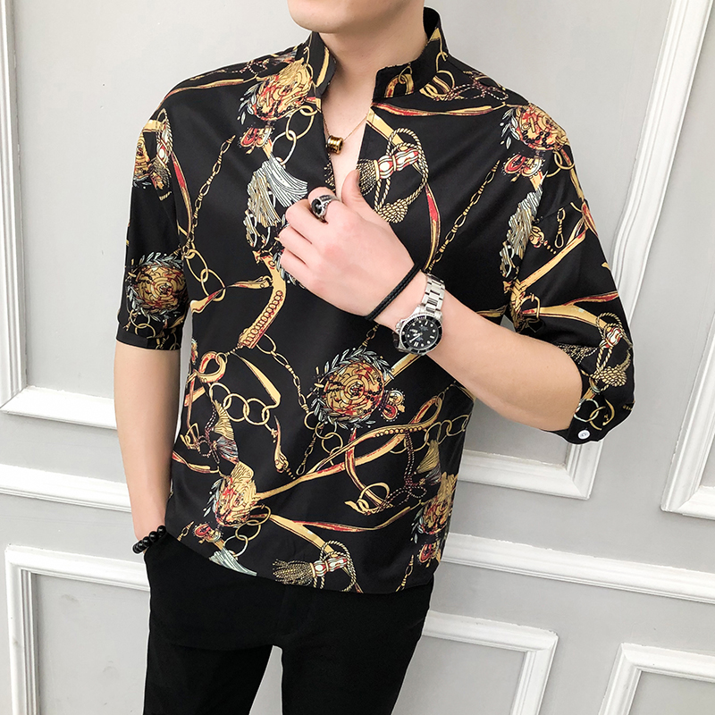 2020 NEW Golden Print Men Shirt Casual Loose Half Sleeve Dress Shirts Retro Luxury Male Streetwear Social Shirt Camisa Masculina 1