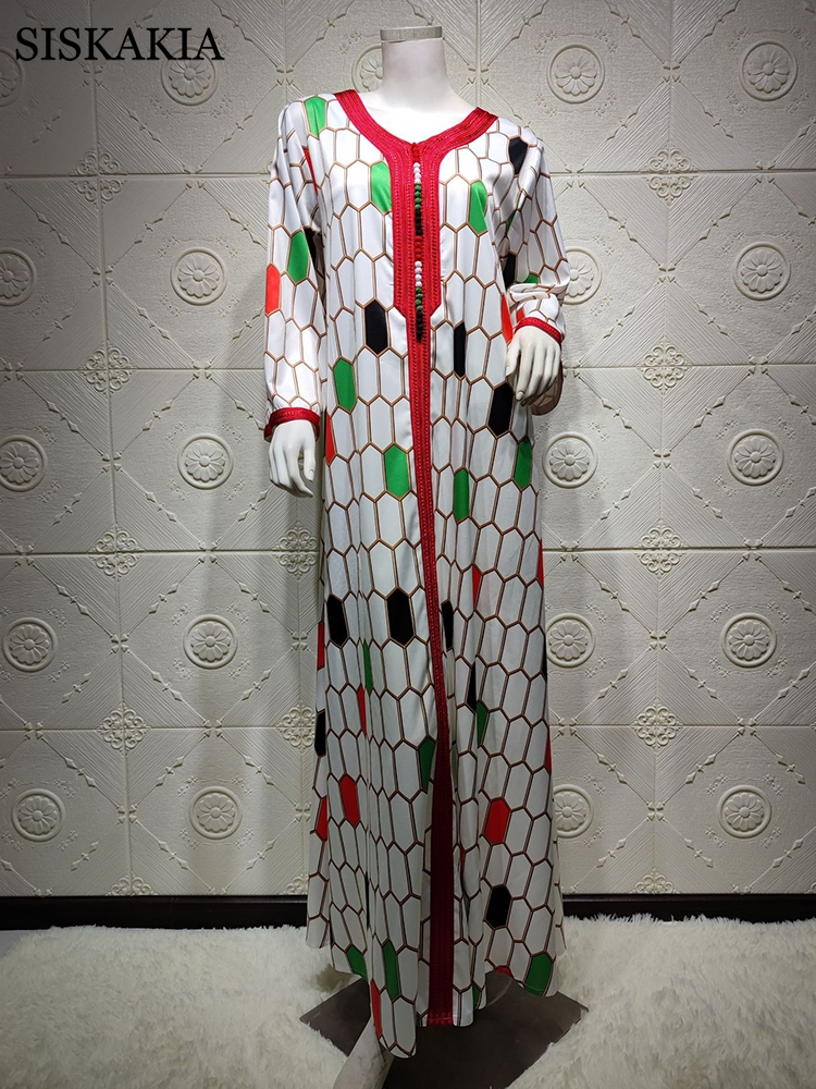 Siskakia Dubai Jalabiya Indie Folk Maxi Dress For Women Fashion Muslim Ribbon V Neck Moroccan Turkey