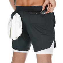 2-In-1 Shorts Bermuda Training Double-Layer Fitness-Clothing Gym Built-In-Pocket Quick-Dry