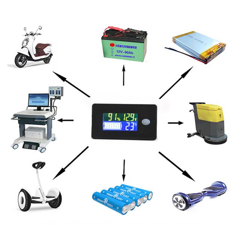 Monitor de medidor de Voltaje de 12-84V//probador de Capacidad de bater/ía para bater/ía de Plomo-/ácido bater/ía de Litio Monitor LCD Digital de Capacidad de bater/ía con Alarma Intermitente Blanco