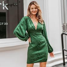 Simplee Sexy v neck short party dress Lantern single breasted a line mini dress Green ribbon ladies streetwear long sleeve dress