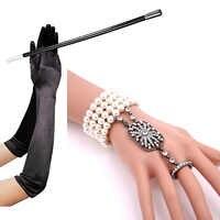 Conjunto de guantes largos de color negro de 1920s, pulsera de perlas, soporte para cigarrillos, disfraces, disfraces, accesorios de fiesta