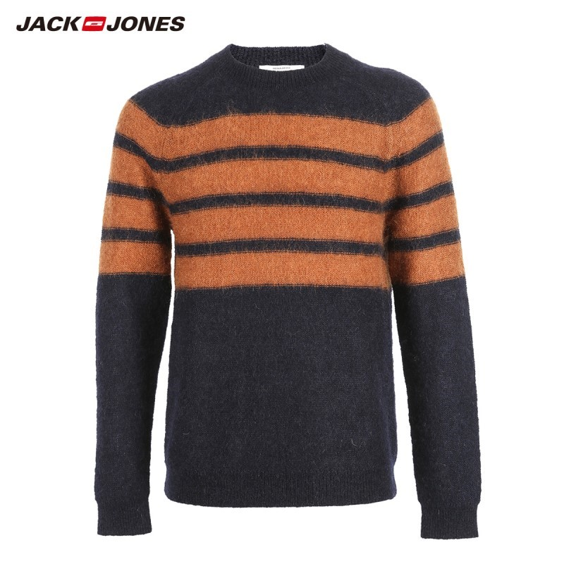 JackJones Men's Striped Printed Mohair Fabric Sweater Pullover Top Menswear 218425533