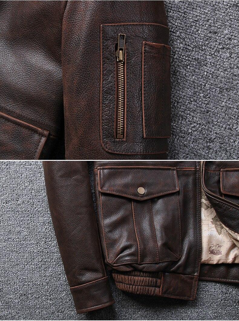 Haabb40839e064b668c1c9edb6ffa9f55s 2019 Vintage Men's G1 Air Force Pilot Jackets Genuine Leather Cowhide Jacket Plus Size 5XL Fur Collar Winter Coat for Male