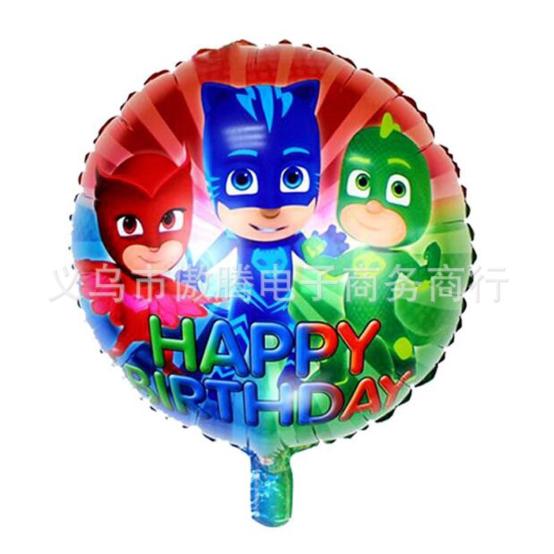 10pcs 18 Inch PJ Masks Round Balloon Cartoon Birthday Party Children's Toy Aluminum Balloon With Happy Birthday