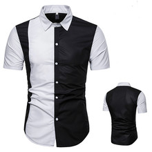 Fashion Mens Short Sleeve Shirt Summer Black White Patchwork Korean Male Clothes Shirts with Collar 50