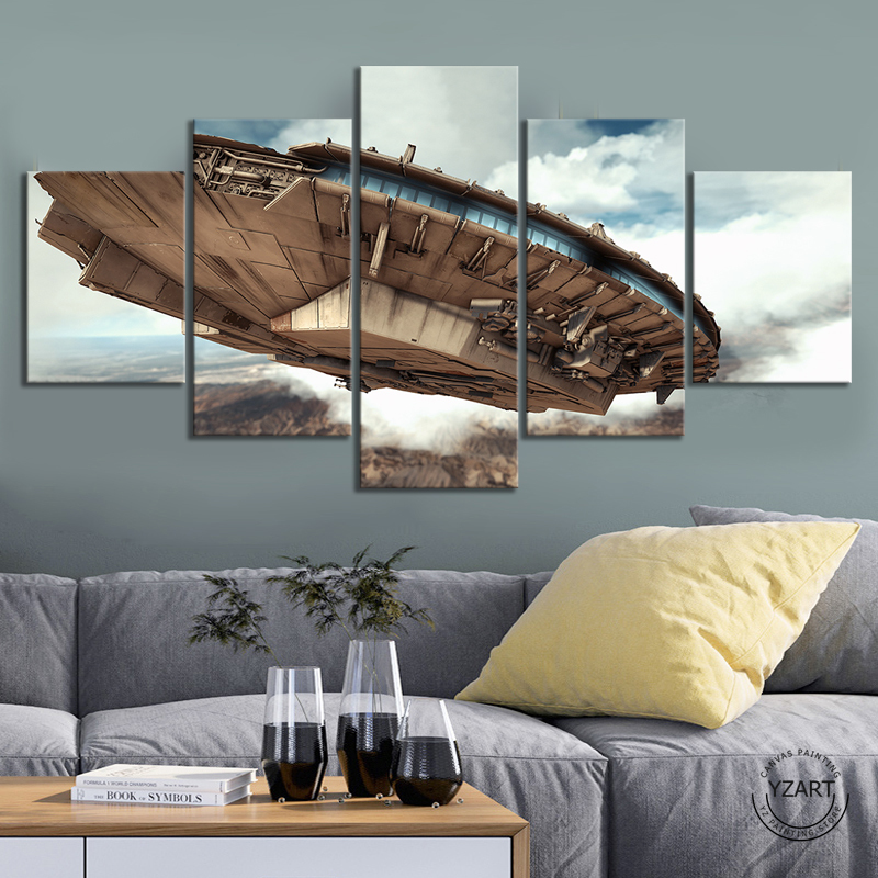 5 Piece HD Digital Art Fantasy Spaceship Pictures Oil Painting Star Wars Video Games Art Wall Decor Paintings Bedroom Wall Art image