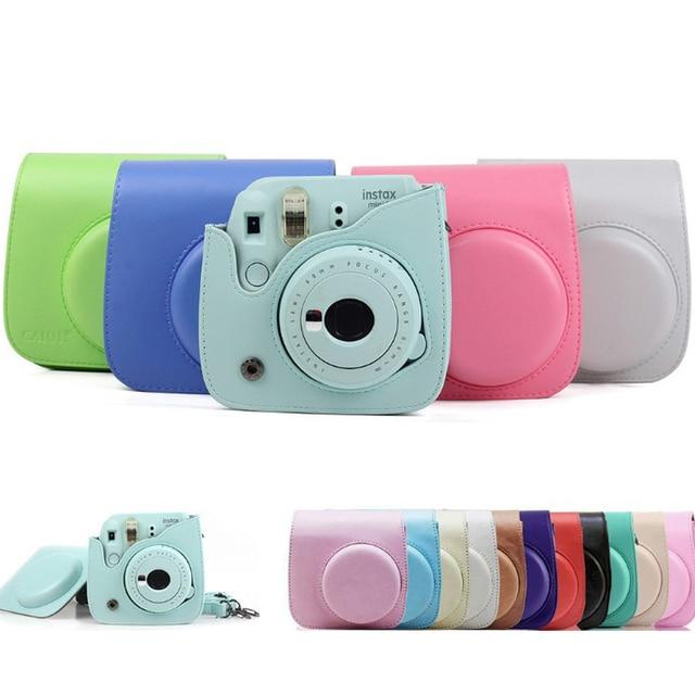 Colorida funda protectora para cámara de hombro para Polaroid Fujifilm Mini 8 8 + 9 Instax, funda protectora de cuero Pu para cámara