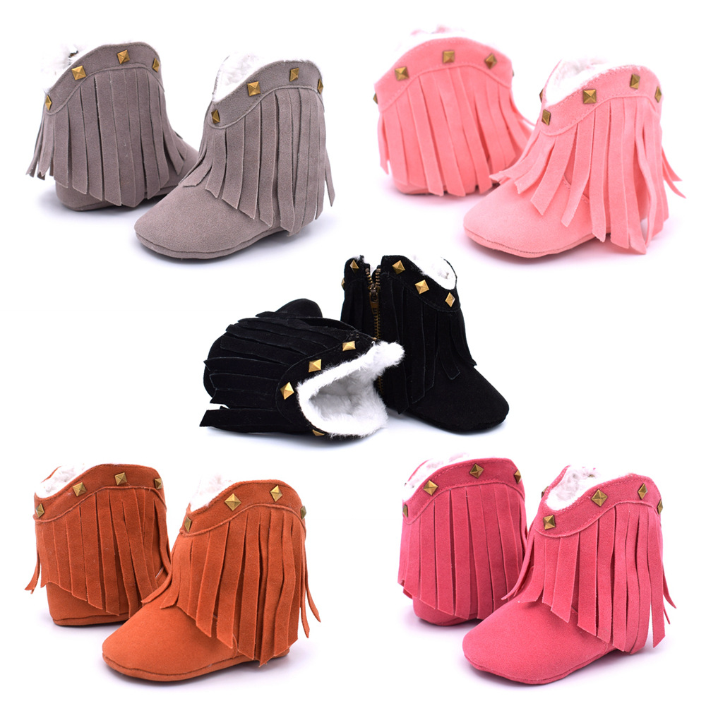 Baby Girls Cowboy Boots Tassel Soft Bottom Non-Slip Boots Toddler Shoes Infant Winter Warm Shoes