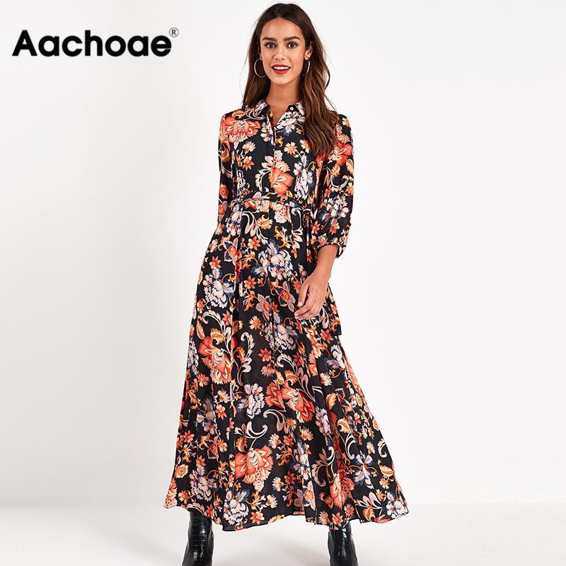 Aachoae Floral Print Long Maxi Dress Women Casual Turn Down Collar Shirt Dress Three Quarter Sleeve Bohemian Sashes Dresses