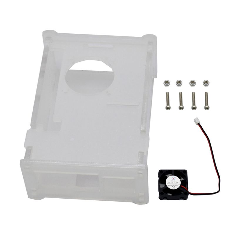 1Set Clear Acrylic Case Enclosure Box With Cooling Fan For Raspberry Pi 4 Model B Accessories J6PA