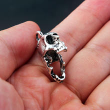 Silver Gothic Skull Earrings with moving Jaw for Women