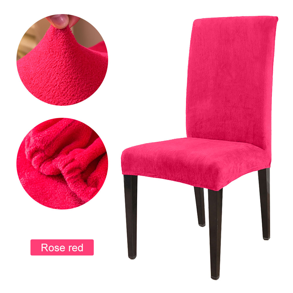 1 to 6 Pcs Removable Chair Cover Made with Stretchable Thick Plush Material for Banquet Chair 27