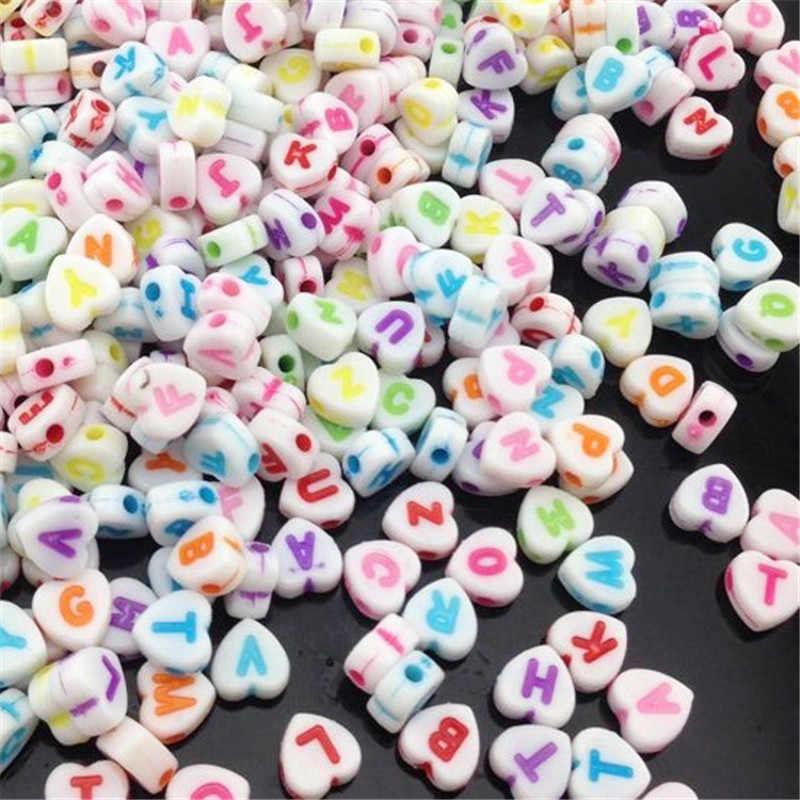 100 pçs mistos grânulos de acrílico 7mm coração branco alfabeto contas carta espaçador contas para fazer jóias clipe chupeta diy