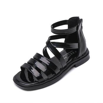Dziewczęce sandały 2021 nowe dziecięce letnie dziewczynki rzymskie sandały dziecięce moda księżniczka sandały dziewczęce miękkie podeszwy sandały tanie i dobre opinie JGSHOWKITO 25-36m 3-6y CN (pochodzenie) Lato Dziewczyny Lakierowana skóra Płaskie obcasy Dobrze pasuje do rozmiaru wybierz swój normalny rozmiar