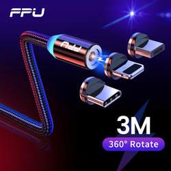 FPU 3 м Магнитный Micro USB кабель для iPhone samsung Android мобильный телефон Быстрая зарядка usb type C кабель магнитное зарядное устройство провод шнур