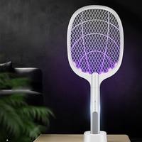 Raqueta antimosquitos eléctrica con lámpara UV, 3000V, USB, 1200mAh, recargable, para verano