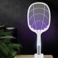 Raquette anti-moustiques électrique, accessoire pour tuer les insectes, 3000 V, avec lampe UV, port USB, 1200mAh rechargeable, piège à nuisibles pendant l\'été