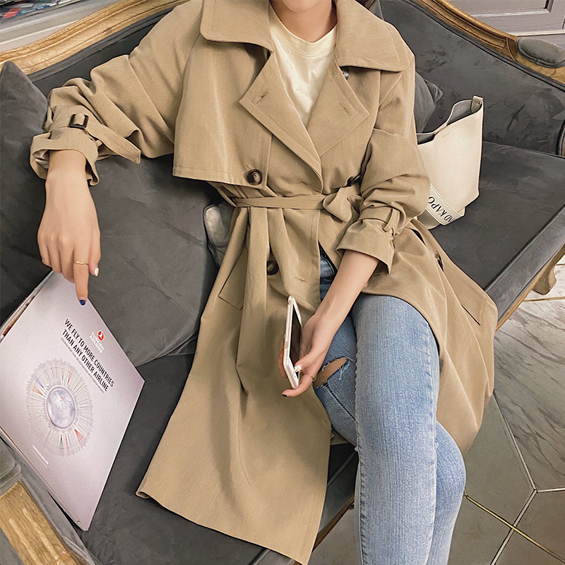 MISHOW 2020 Spring New Women's Trench Coat Double Breasted Female Vintage Outwear Solid Tops Fashion Clothing MX20A7362