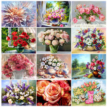 5D DIY Diamond Painting Flower Vase Cross Stitch Kit Diamond Embroidery Rose Rhinestone Mosaic Art Picture Home Decoration Gift