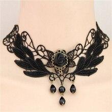 Collar Necklace Jewelry Gem-Decoration Beads Choker Chocker Women Punk-Style Black Gothic