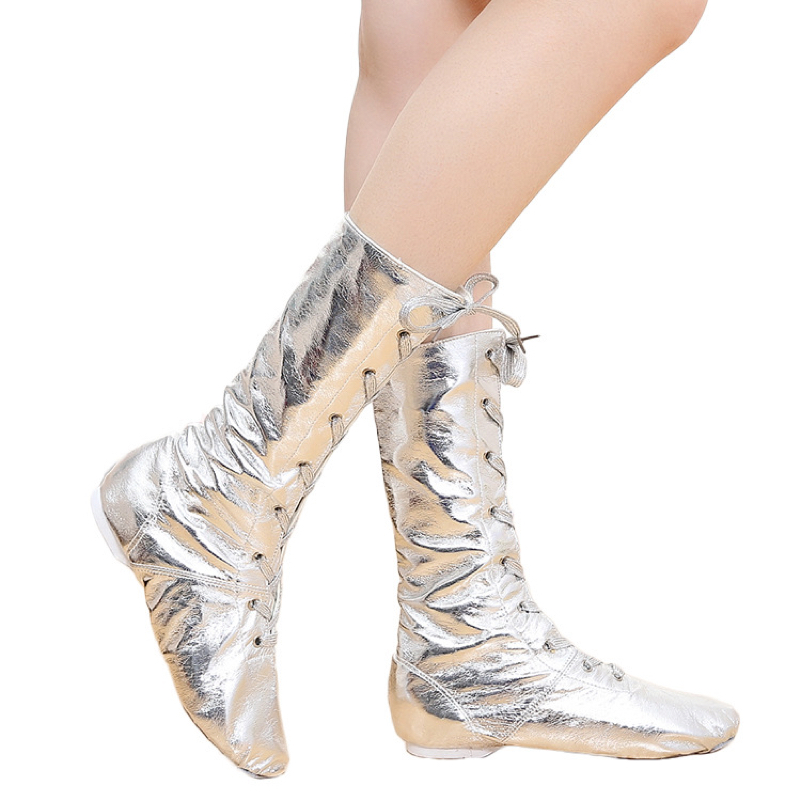 Tiejian Canvas PU Children Dance Boots Jazz Dancing Shoes Lace-ups Long Boot Black Gold Silver Stage Girls Performing Shoes O9a