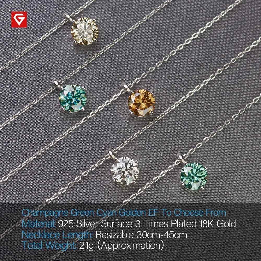 GIGAJEWE 1ct 6.5mm śladu środowiskowego okrągłe 18K białe złoto pozłacane srebro 925 Moissanite diamentowy naszyjnik Test przeszedł biżuteria kobieta dziewczyna prezent