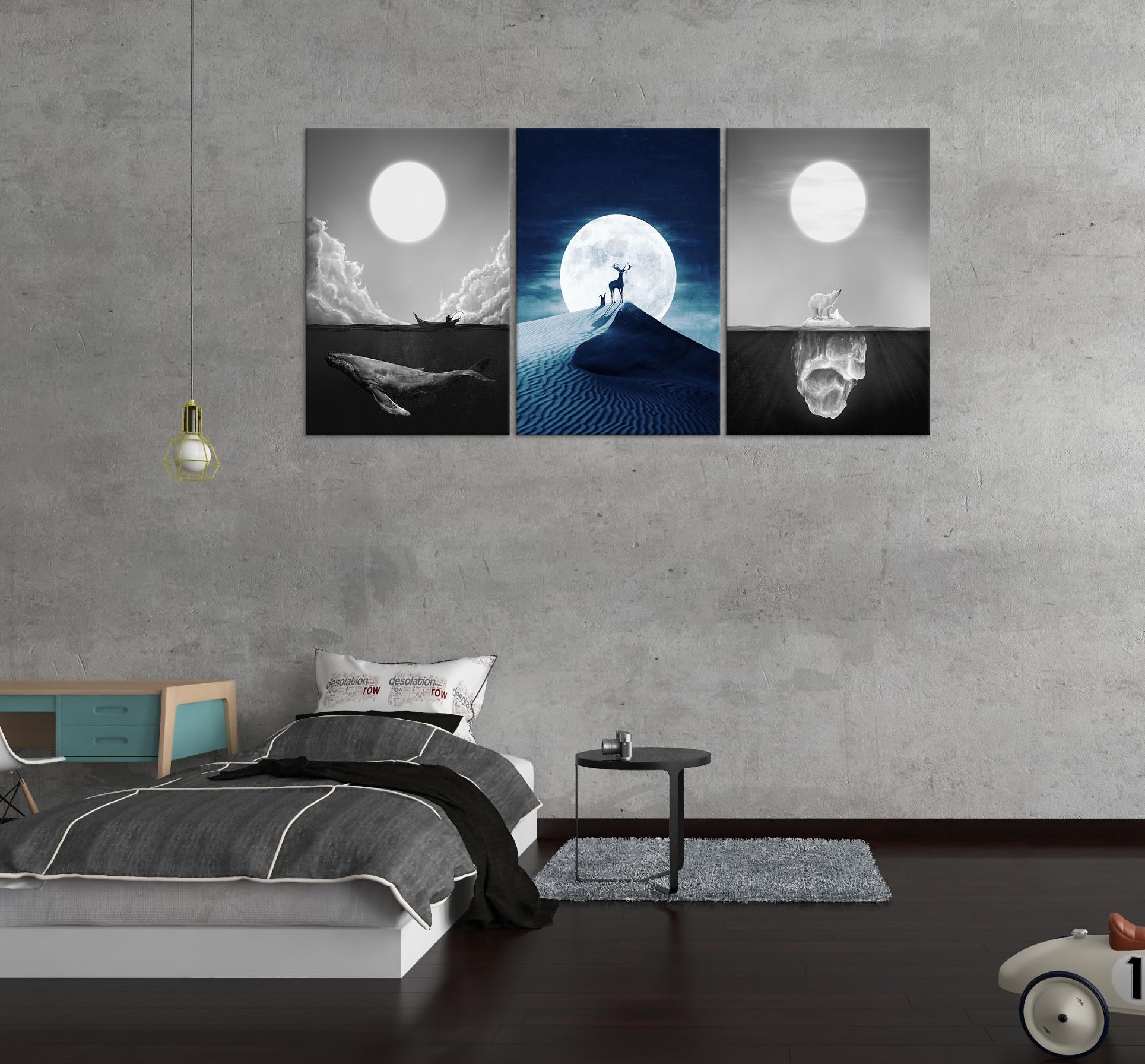 Noite lua céu golfinho mar parede arte decoração do deserto alce pintura da lona cozinha urso polar gelo montanha cópias fotos para casa - 4