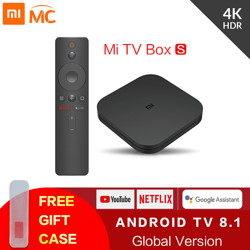 Global Original Xiao mi mi 4K HDR Android TV Caixa de TV S 8.1 Ultra HD 2G 8G WI-FI Google Lançar 4 Netflix IPTV Set top Box Media Player