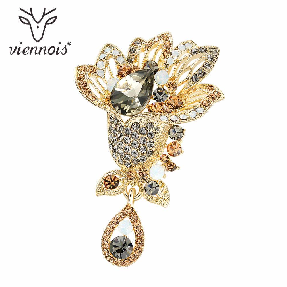 Viennois Fiore Spille Spilla Gioelleria raffinata e alla moda di Caffè Color Oro Zircone Per Le Donne