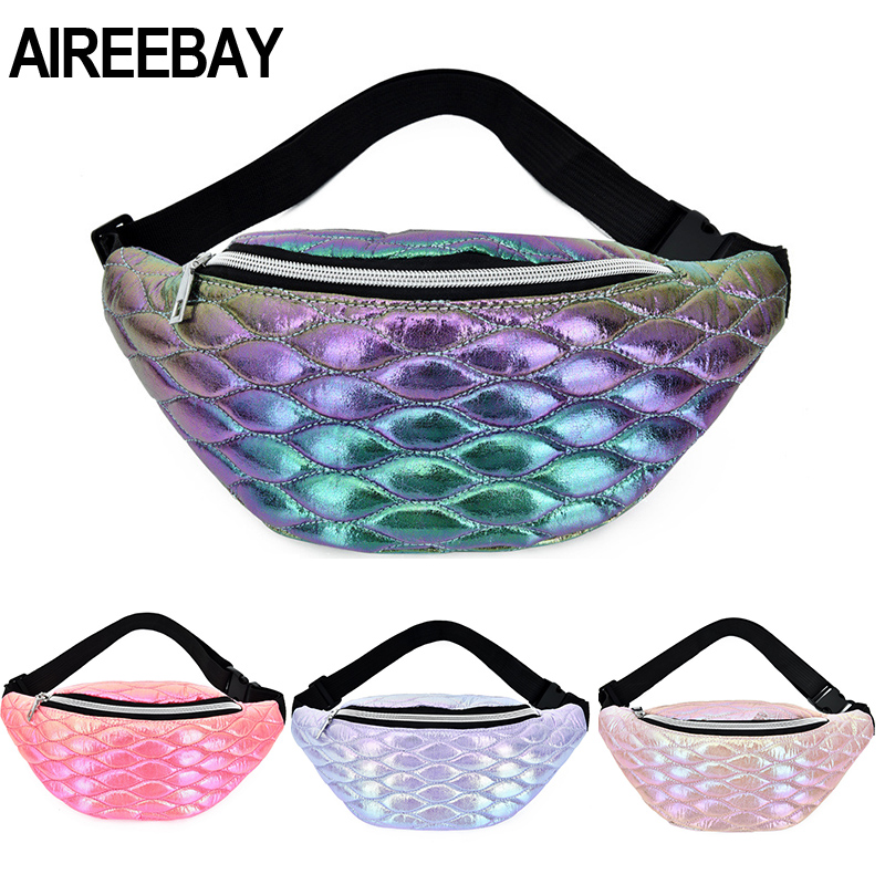 AIREEBAY Hologpraphic Women Waist Pack Gradient Color Fanny Pack For Ladies New Design Travel Chest Waist Bag Hip Phone Pouch