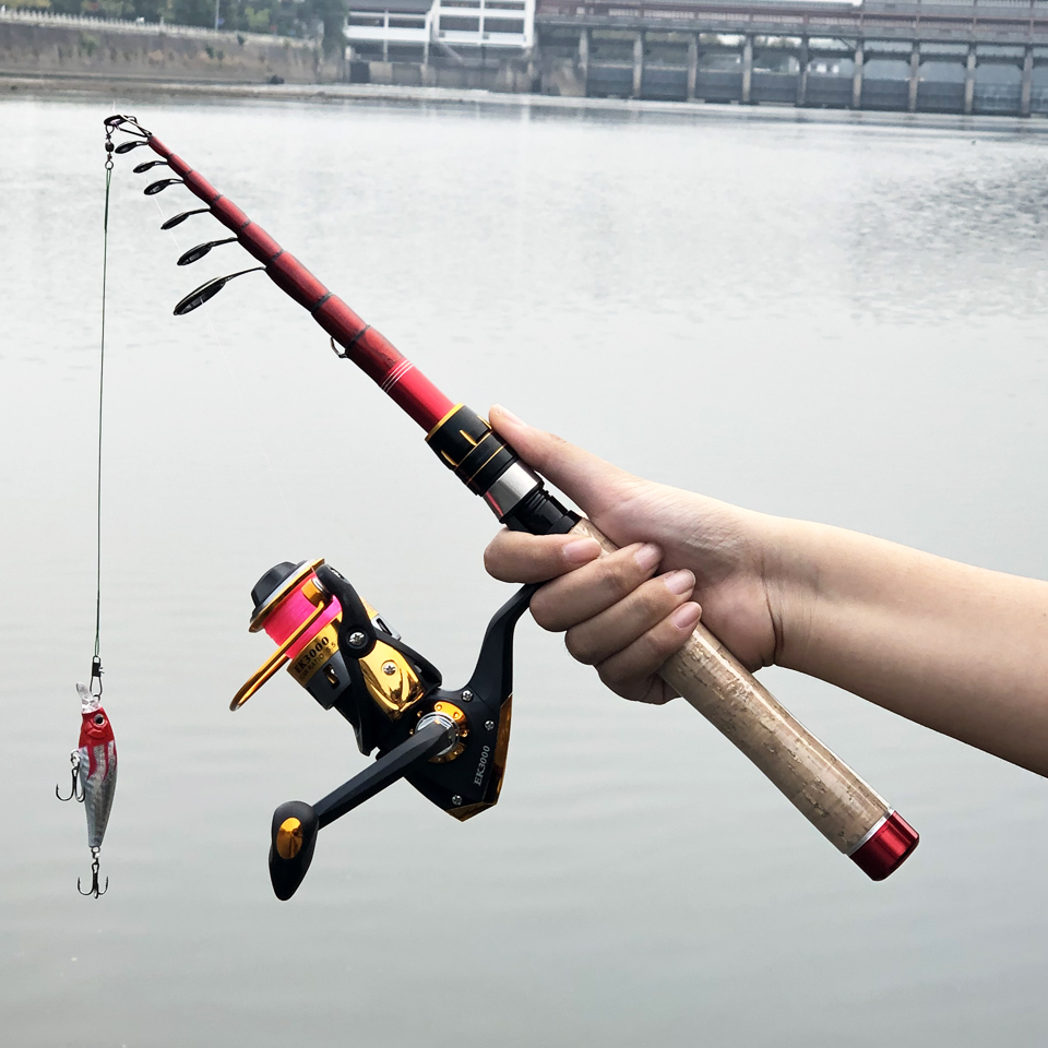 Image 2 - Ultralight carbon spinning fishing rod protable telescopic rods travel pole boat rock stick hard short lure rod-in Fishing Rods from Sports & Entertainment