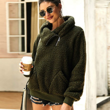 Womens Hoodies Thick Velvet Sweatshirts Autumn Winter Hoodie Turtleneck Warm Pullovers Fashion Ladies Sweatshirt Casual Tops