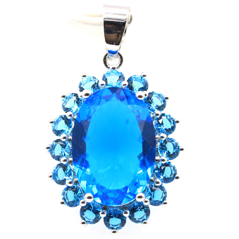 36x21mm  Romantic Big Oval Gemstone Created Paris Blue Topaz Gift For Girls Silver Pendant